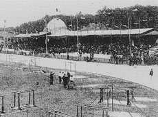 Paris 3-4 June 1900. View of the velodrome de Vincennes during the Federal Meeting of the Union of Gymnastics Associations of France.